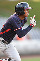 Center fielder Cristian Pache (25) of the Rome Braves in a game against the Greenville Drive on Wednesday, May 31, 2017, at Fluor Field at the West End in Greenville, South Carolina. Greenville won, 7-1. (Tom Priddy/Four Seam Images)