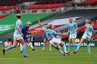 29th August 2020; Wembley Stadium, London, England; Community Shield Womens Final, Chelsea versus Manchester City; Ji So-yun of Chelsea Women has a shot on goal between defenders Houghton and Morgan of Man City