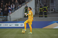 Lorient, France. - Sunday, February 8, 2015: France goalkeeper Sarah Bouhaddi (16). France defeated the USWNT 2-0 during an international friendly at the Stade du Moustoir.