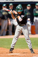 Justin Roland #16 of the Charlotte 49ers is hit by a pitch at War Memorial Stadium March 23, 2010, in Greensboro, North Carolina.  Photo by Brian Westerholt / Four Seam Images