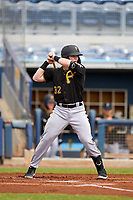 FCL Pirates Black Henry Davis (32) bats in the top of the first inning during a game against the FCL Rays on August 3, 2021 at Charlotte Sports Park in Port Charlotte, Florida.  Davis was making his professional debut after being selected first overall in the MLB Draft out of Louisville by the Pittsburgh Pirates.  (Mike Janes/Four Seam Images)