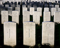Headstones mark the graves of soldiers in Tyne Cot, the biggest Commonwealth War Cemetery in the world where almost 12,000 men, killed in the Ypres Salient during World War I, are laid to rest.