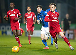 St Johnstone v Aberdeen…..24.11.19   McDiarmid Park   SPFL<br />Matty Kennedy goes past Mikey Devlin<br />Picture by Graeme Hart.<br />Copyright Perthshire Picture Agency<br />Tel: 01738 623350  Mobile: 07990 594431