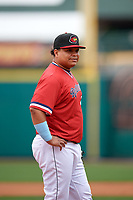 Rochester Red Wings Willians Astudillo (48) during an International League game against the Charlotte Knights on June 16, 2019 at Frontier Field in Rochester, New York.  Rochester defeated Charlotte 11-5 in the first game of a doubleheader that was a continuation of a game postponed the day prior due to inclement weather.  (Mike Janes/Four Seam Images)