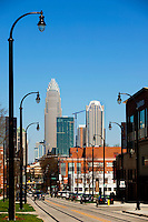 A street scene from downtown / uptown / center city Charlotte North Carolina.  Photo by Charlotte, North Carolina photographer Patrick Schneider.