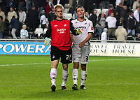Pictured: Alan Tate (left) and Marcos Painter (right) of Swansea City<br /> Re: Coca Cola Championship, Swansea City Football Club v Queens Park Rangers at the Liberty Stadium, Swansea, south Wales 21st October 2008.