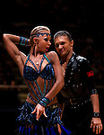 Yury Simachev and Anastasia Klokotova of Russia during the WDSF GrandSlam Latin on the Day 1 of the WDSF GrandSlam Hong Kong 2014 on May 31, 2014 at the Queen Elizabeth Stadium Arena in Hong Kong, China. Photo by AItor Alcalde / Power Sport Images