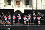Androni Giocattoli-Sidermec on stage at team presentation of the 2021 Giro d'Italia inside the Cortile d'Onore of the Castello del Valentino, on the occasion of the 160th anniversary of the Unification of Italy, Turin, Italy. 6th May 2021.  <br /> Picture: LaPresse/Fabio Ferrari | Cyclefile<br /> <br /> All photos usage must carry mandatory copyright credit (© Cyclefile | LaPresse/Fabio Ferrari)