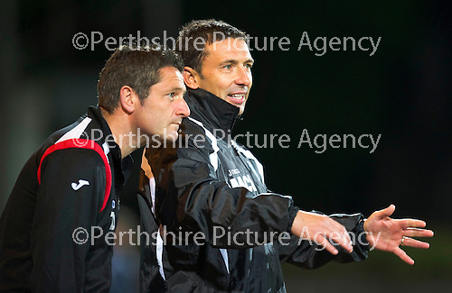 St Johnstone v Morton..24.08.10  CIS Cup Round 2.Derek McInnes and Tony Docherty.Picture by Graeme Hart..Copyright Perthshire Picture Agency.Tel: 01738 623350  Mobile: 07990 594431