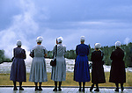 A group of Menonite women wait patiently for Old Fathful geyser to erupt in Yellowstone National Park. © Michael Brands. 970-379-1885.