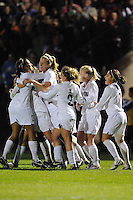 STANFORD, CA - NOVEMBER 21:  Christen Press, Kelley O'Hara, Allison Falk, Camille Levin, Alicia Jenkins, and Teresa Noyola of the Stanford Cardinal celebrate Kelley O'Hara's goal during Stanford's 1-0 win in the NCAA Women's Soccer third round over Rutgers on November 21, 2008 at Laird Q. Cagan Stadium in Stanford, California.