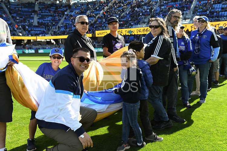 SAN JOSE, CA - FEBRUARY 29: Flag bearers during a game between Toronto FC and San Jose Earthquakes at Earthquakes Stadium on February 29, 2020 in San Jose, California.