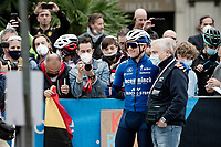 Remco Evenepoel (BEL/Deceuninck-Quick Step) at the race start in Como posing with the doctor that helped him after his horrible crash one year earlier <br /> <br /> 115th Il Lombardia 2021 (1.UWT)<br /> One day race from Como to Bergamo (ITA/239km)<br /> <br /> ©kramon