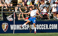 19 July 2009: Kim Yokers of the FC Gold Pride battles for the ball in the air against Sophia Mundy of the Boston Breakers during the game at Buck Shaw Stadium in Santa Clara, California.   Boston Breakers defeated FC Gold Pride, 1-0.