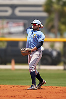 Tampa Bay Rays Jonathan Aranda (48) throws to first base during a Minor League Spring Training game against the Baltimore Orioles on April 23, 2021 at Charlotte Sports Park in Port Charlotte, Florida.  (Mike Janes/Four Seam Images)