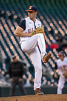 Tyler Jay (11) of the Illinois Fighting Illini pitches during the 2015 Big Ten Conference Tournament between the Illinois Fighting Illini and Nebraska Cornhuskers at Target Field on May 20, 2015 in Minneapolis, Minnesota. (Brace Hemmelgarn/Four Seam Images)