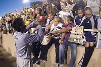 Briana Scurry signs autographs. .International friendly, USA Women vs Mexico, Albuquerque, NM,.October 20, 2006..USA 1, Mexico 1.