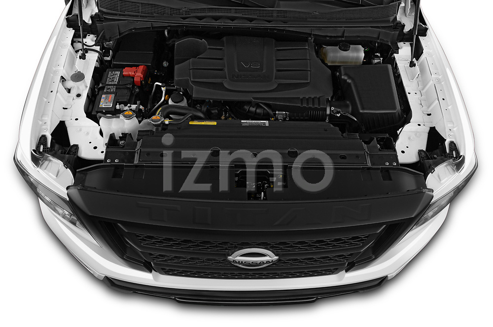 Car Stock 2021 Nissan Titan S 4 Door Pick-up Engine  high angle detail view