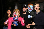 """AJ McLean from the Backstreet Boys backstage with Gizel Jimenez and Matt Dengler from the cast and crew of  """"Avenue Q""""  at the New World Stages on January 27, 2019 in New York City."""