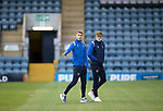 Dundee v St Johnstone…22.09.21  Dens Park.    Premier Sports Cup<br />Eetu Vertainen and Lars Dendoncker pictured on the pitch shorlty after arriving at Dens Park.<br />Picture by Graeme Hart.<br />Copyright Perthshire Picture Agency<br />Tel: 01738 623350  Mobile: 07990 594431