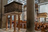 Italy, Florence San Lorenzo, Interior looking towards Donatello pergami