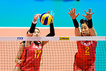 Ni Yan (L) and Ting Zhu of China (R) in action during the FIVB Volleyball Nations League Hong Kong match between China and Argentina on May 29, 2018 in Hong Kong, Hong Kong. Photo by Marcio Rodrigo Machado / Power Sport Images