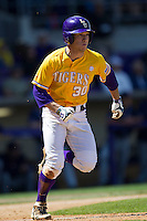 LSU Tigers shortstop Alex Bregman #30 runs to first base against the Auburn Tigers in the NCAA baseball game on March 24, 2013 at Alex Box Stadium in Baton Rouge, Louisiana. LSU defeated Auburn 5-1. (Andrew Woolley/Four Seam Images).