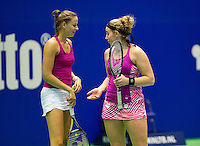 Rotterdam,Netherlands, December 15, 2015,  Topsport Centrum, Lotto NK Tennis, Womans doubles: Nikki Luttikhuis (R) and Erika Vogelsang (NED)<br /> Photo: Tennisimages/Henk Koster