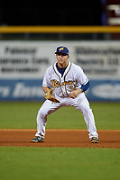 Montgomery Biscuits first baseman Joe McCarthy (31) during a game against the Mississippi Braves on April 24, 2017 at Montgomery Riverwalk Stadium in Montgomery, Alabama.  Montgomery defeated Mississippi 3-2.  (Mike Janes/Four Seam Images)
