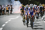 Groupama-FDJ on the front of the peloton during Stage 15 of the 2021 Tour de France, running 191.3km from Ceret to Andorre-La-Vieille, France. 11th July 2021.  <br /> Picture: A.S.O./Pauline Ballet | Cyclefile<br /> <br /> All photos usage must carry mandatory copyright credit (© Cyclefile | A.S.O./Pauline Ballet)