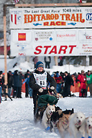 Heather Sirtola team leaves the start line during the restart day of Iditarod 2009 in Willow, Alaska