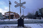Commuter train level crossing Dover New Jersey America USA  1982 1980s US