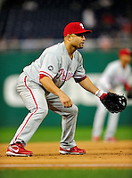 27 September 2010: Philadelphia Phillies' infielder Placido Polanco in action against the Washington Nationals at Nationals Park in Washington, DC. Mandatory Credit: Ed Wolfstein Photo