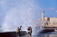 Castillo de los tres Reyes del Morro + Malecon in Habana, Cuba, Unesco-Weltkulturerbe