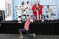 #61 Road Shagger Racing Audi RS3 LMS TCR, TCR: Gavin Ernstone, Jon Morley, #33 Bryan Herta Autosport w/ Curb Agajanian Hyundai Veloster N TCR, TCR: Gabby Chaves, Ryan Norman, #29 Bryan Herta Autosport w/ Curb Agajanian Hyundai Veloster N TCR, TCR: Parker Chase, Spencer Brockman, podium, champagne