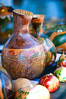 Beautiful painted Hawaiian gourds, (ipus) displayed at a craft fair, Honolulu, O'ahu.