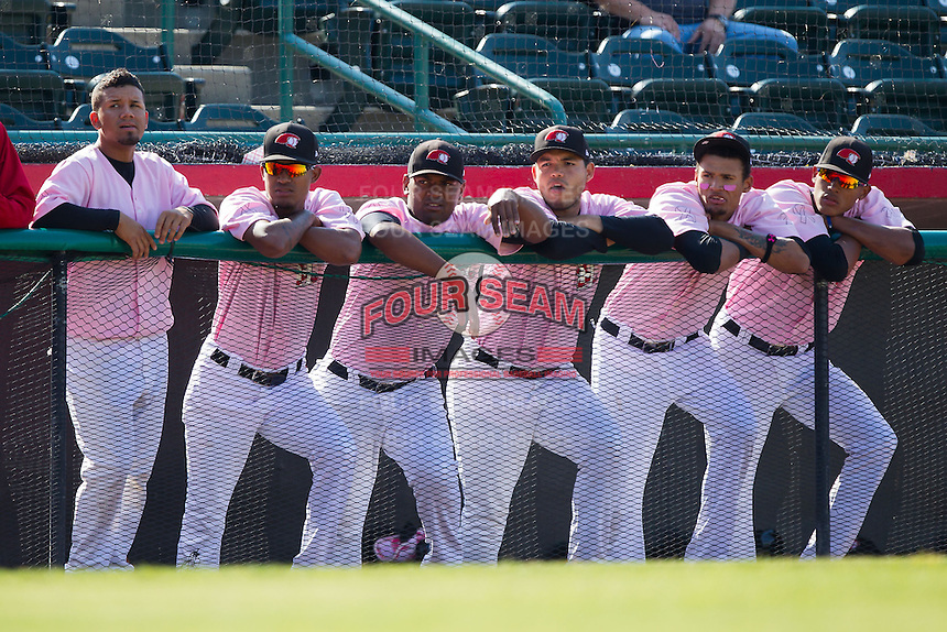 (L-R) Eduard Pinto, Yohander Mendez, Felix Carvallo, Ricardo Rodriguez, Jairo Beras and Kelvin Vasquez of the Hickory Crawdads watch the action against the Augusta GreenJackets at L.P. Frans Stadium on May 11, 2014 in Hickory, North Carolina.  The GreenJackets defeated the Crawdads 9-4.  (Brian Westerholt/Four Seam Images)