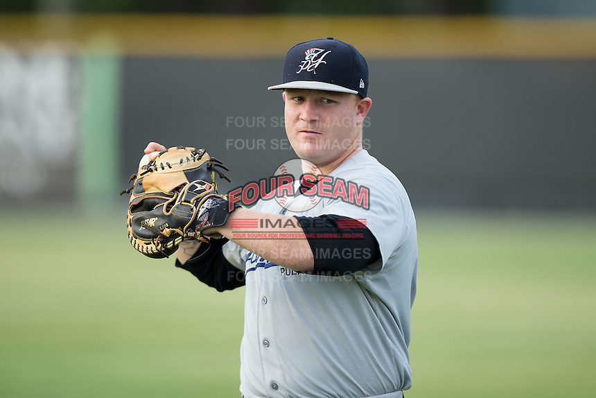 Matt Walsh (60) of the Pulaski Yankees warms up in the outfield prior to the game against the Burlington Royals at Burlington Athletic Park on August 6, 2015 in Burlington, North Carolina.  The Royals defeated the Yankees 1-0. (Brian Westerholt/Four Seam Images)