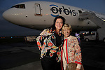 Laura Protz and Donna Teichman at a welcome reception for the Orbis Flying Eye Hospital at Ellington Airport Tuesday Oct. 20,2015.(Dave Rossman photo)