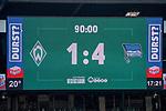 19.09.2020, wohninvest Weserstadion, Bremen, GER,  SV Werder Bremen vs Hertha BSC Berlin, <br /> <br /> <br />  im Bild<br /> <br /> anzeigentafel endstand 1:4<br /> <br /> Foto © nordphoto / Kokenge<br /> <br /> DFL regulations prohibit any use of photographs as image sequences and/or quasi-video.