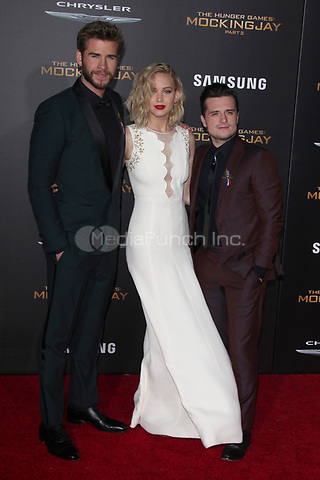 """LOS ANGELES, CA - NOVEMBER 16: Liam Hemsworth, Jennifer Lawrence and Josh Hutcherson at the Premiere Of """"The Hunger Games: Mockingjay - Part 2"""" At Microsoft Theater On November 16, 2015. Credit: mpi21/MediaPunch"""