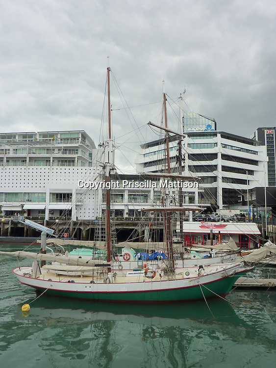 Auckland, New Zealand - September 20, 2012:  A sailboat matches the glassy green water in Viaduct Basin.