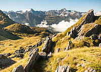 Alpine vistas in Southern Alps , Westland Tai Poutini National Park, West Coast, UNESCO World Heritage Area, New Zealand, NZ