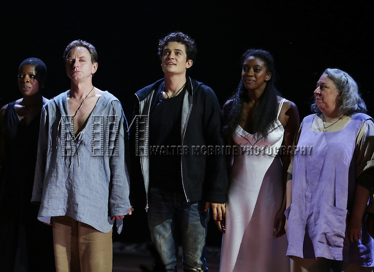 "Roslyn Ruff, Brent Carver, Orlando Bloom, Condola Rashad and Jayne Houdyshell during the ""Romeo And Juliet"" On Broadway First Performance Curtain Call at the Richard Rodgers Theatre in New York City on 8/24/2013"