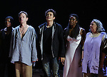 """Roslyn Ruff, Brent Carver, Orlando Bloom, Condola Rashad and Jayne Houdyshell during the """"Romeo And Juliet"""" On Broadway First Performance Curtain Call at the Richard Rodgers Theatre in New York City on 8/24/2013"""
