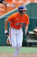 Freshman pitcher Brooks Crawford (19) of the Clemson Tigers in a fall practice intra-squad Orange-Purple scrimmage on Saturday, September 26, 2015, at Doug Kingsmore Stadium in Clemson, South Carolina. (Tom Priddy/Four Seam Images)