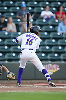 Luis Alexander Basabe (16) of the Winston-Salem Dash at bat against the Myrtle Beach Pelicans at BB&T Ballpark on May 11, 2017 in Winston-Salem, North Carolina.  The Pelicans defeated the Dash 9-7.  (Brian Westerholt/Four Seam Images)
