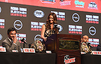 LAS VEGAS - JULY 17: Manny Pacquiao and Keith Thurman speak with Fox Sports Heidi Androl at the final press conference for the PBC on Fox Sports Pay-Per-View at the MGM Grand on July 17, 2019 in Las Vegas, Nevada. (Photo by Frank Micelotta/Fox Sports/PictureGroup)