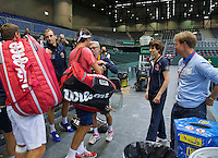 Switserland, Genève, September 16, 2015, Tennis,   Davis Cup, Switserland-Netherlands, The living legend has arrived, Roger Federer makes his apearance in the Plaxepo and is greeted by Dutch coach Martin Bohm<br /> Photo: Tennisimages/Henk Koster