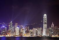 Hong Kong skyline above Victoria Harbour during evening light show, Hong Kong SAR, China, Asia